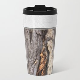 Abstract Human Figures in Gnarled Wood and White Cinder Block Travel Mug