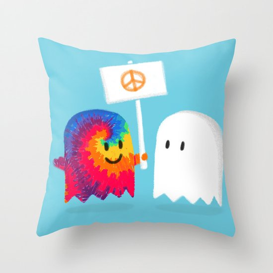 Hippie ghost Throw Pillow