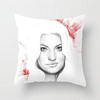 dexter Throw Pillows featuring DEXTER by Olechka