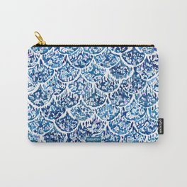 FATHOMS DEEP Indigo Watercolor Fish Scale Carry-All Pouch