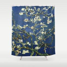Almond Blossom - Vincent Van Gogh (dark blue) Shower Curtain