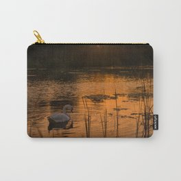 Swan in lake at golden golden sunset Carry-All Pouch