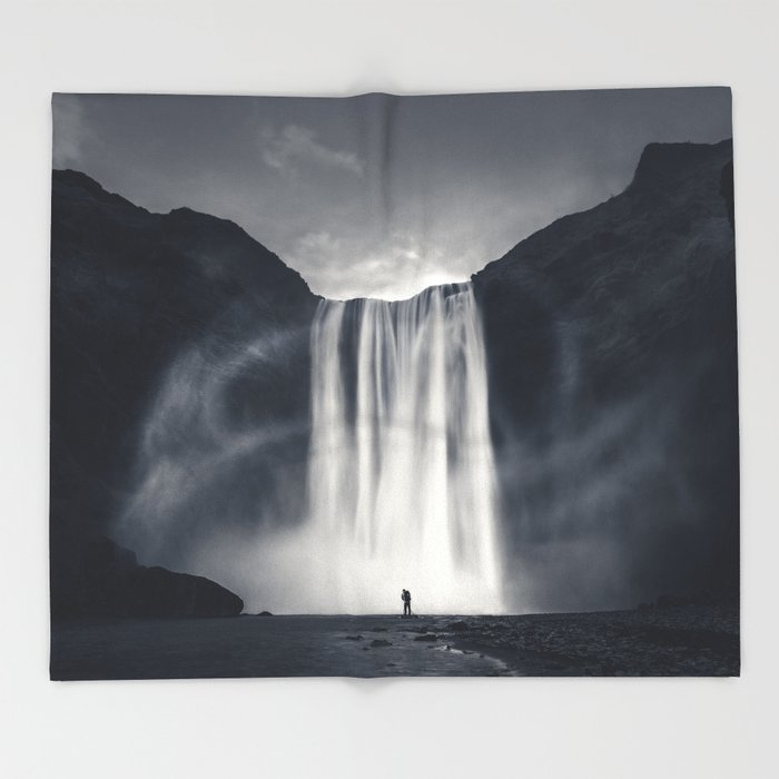 Stormy Skogafoss Throw Blanket