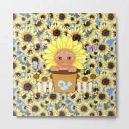 Sunflower Baby Metal Print