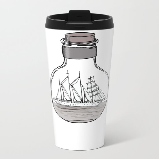 the ship in the bulb Metal Travel Mug