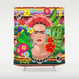 Frida Kahlo Floral Exotic Portrait Shower Curtain