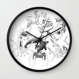 Ink Thoughts Four Wall Clock