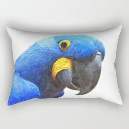 Blue Parrot Portrait Rectangular Pillow
