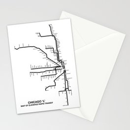 Chicago CTA Map, Chicago Map Art, CTA Art, Chicago Wall Art, Chicago Art, L Train, Art Print Stationery Cards