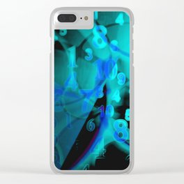Blue Digital Numbers Clear iPhone Case