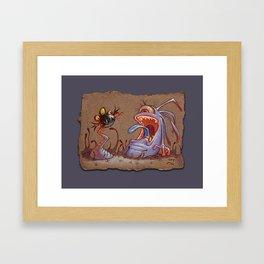 Grey Paper Sketch: Tail Biter, Light Purple Background Framed Art Print