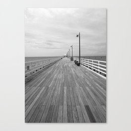 Wooden Pier on a Cloudy Day Black and White Photographic Print Canvas Print