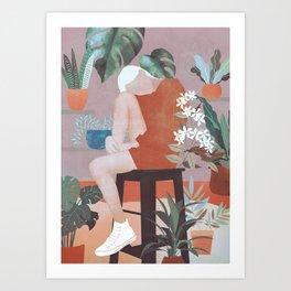 Girl and Plants Art Print