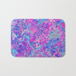 Blue and Pink Abstract Pattern Bath Mat