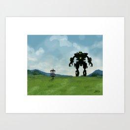 Disc Golf Art - Robot Fairway Art Print