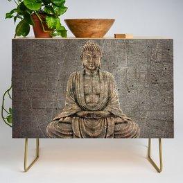 Sitting Buddha On Distressed Metal Background Credenza