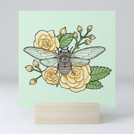 Cicada with Roses - Mint Mini Art Print