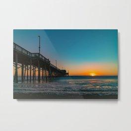 Sunset Foam at Newport Pier Metal Print