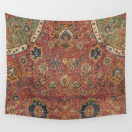 Persian Medallion Rug IV // 16th Century Distressed Red Green Blue Flowery Colorful Ornate Pattern Wall Tapestry