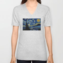 Pixel Starry Night Unisex V-Neck