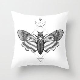 Dotwork Death's-Head Hawkmoth Throw Pillow