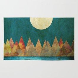 Still Waters Run Deep, Mountains Moon Landscape Rug