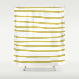 Simply Drawn Stripes Mod Yellow on White Shower Curtain
