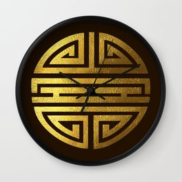 Four blessings Gold Wall Clock