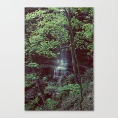 Waterfall Green Trees Color Photography Canvas Print