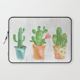 Three Green Cacti Watercolor White Laptop Sleeve