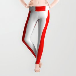 Candy apple red - solid color - white vertical lines pattern Leggings
