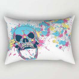 Skull Flower Splatter Rectangular Pillow