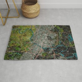 Austin Texas old vintage colorful map, original gift for office decoration Rug