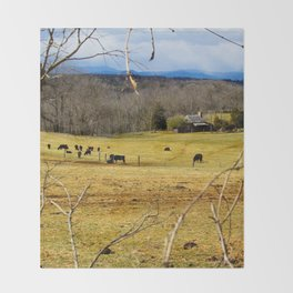 Cattle ranch overlooking the Blue Ridge Mountains Throw Blanket