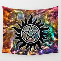 pentagram Wall Tapestries featuring Supernatural by Spooky Dooky