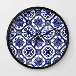 Blue and White Portuguese Tile - Wall Clock