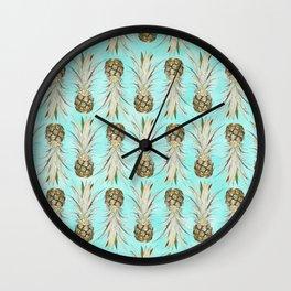 Pineapple Jungle - Aqua Wall Clock