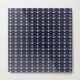 Nautical navy blue white modern anchor pattern Metal Print