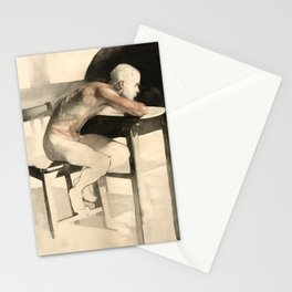 The Pondering Man' Male Figure Drawing in Classic Realism Stationery Cards