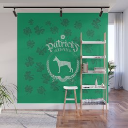 St. Patrick's Day Doberman Funny Gifts for Dog Lovers Wall Mural