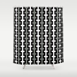 Geometric Pattern 113 (gray lines stripes) Shower Curtain