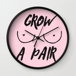 Grow a pair (of boobs) (heart nips) Wall Clock