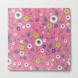 Emma - Wildflowers in Bubble Gum Pink Metal Print