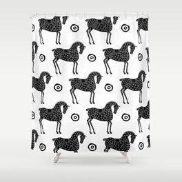 Folk Art Horse Pattern Black-White Shower Curtain