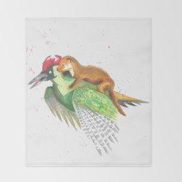Weasel Rides Woodpecker  Throw Blanket