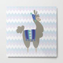 Winter Llama Metal Print