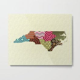 North Carolina State Map Metal Print