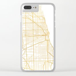 CHICAGO ILLINOIS CITY STREET MAP ART Clear iPhone Case
