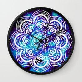 Mandala : Bright Violet & Teal Galaxy Wall Clock