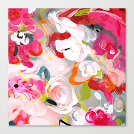Dream flowers in pink rose floral abstract art Canvas Print